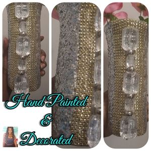 Blinged out Hand Painted & Decorated Vase